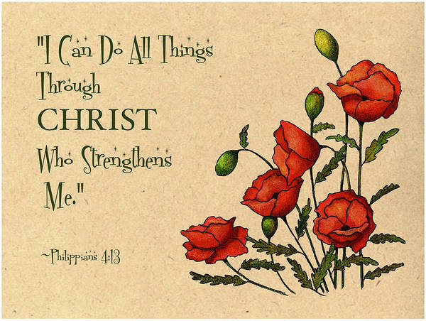 Wall Art - Mixed Media - Bible Verse With Poppies by Joyce Geleynse