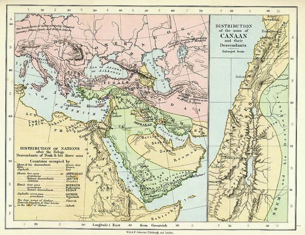 Manufacture Digital Art - Biblical Map by Duncan1890
