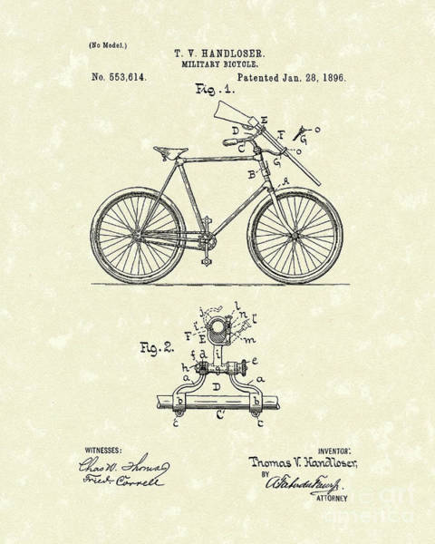 Drawing - Bicycle 1896 Patent Art by Prior Art Design