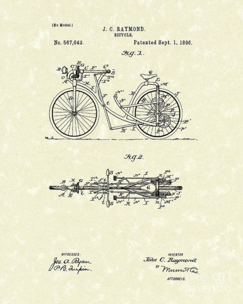 Drawing - Bicycle 1906 Patent Art by Prior Art Design
