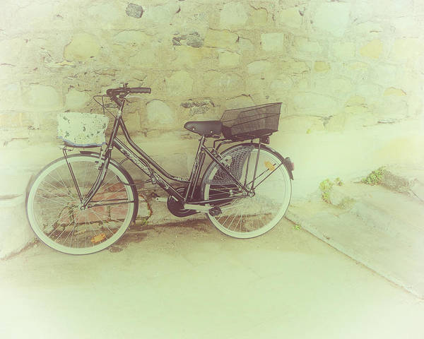Photograph - Bicycle Against Stone Wall by Gigi Ebert