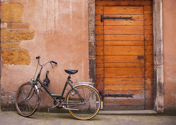 Old Photograph - Bicycle And Doorway, Vieux Lyon, France by Karen Desjardin