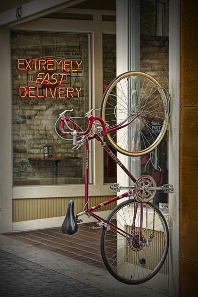 Photograph - Bicycle Attached To Wall Outside Of Fast Food Restaurant by Randall Nyhof
