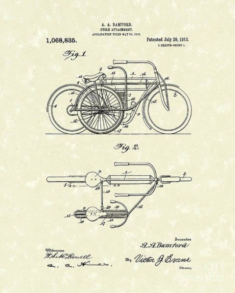 Wall Art - Drawing - Bicycle Attachment 1913 Patent Art by Prior Art Design
