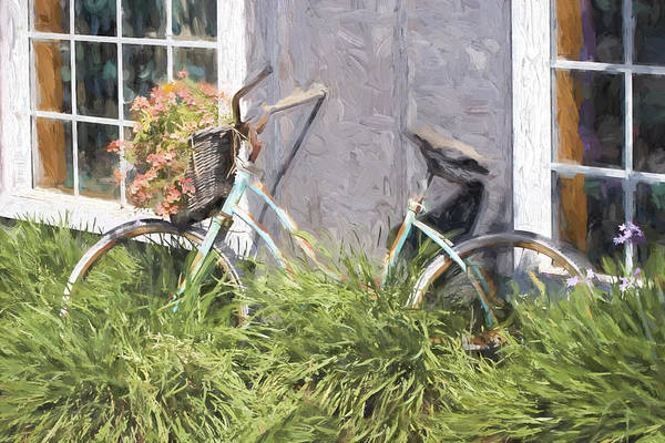 Flowers Bike Wall Art - Photograph - Bicycle Basket Of Flowers Painterly Effect by Carol Leigh