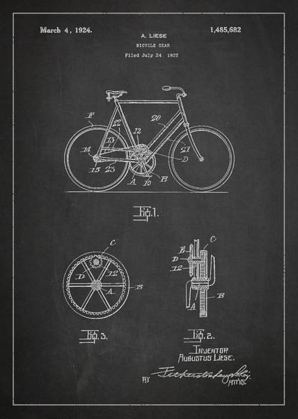Wall Art - Digital Art - Bicycle Gear Patent Drawing From 1922 - Dark by Aged Pixel