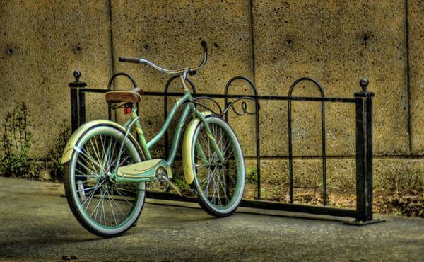 Bicycle Rack Photograph - Bicycle In Bike Rack by D.r. Bennett Photograpy