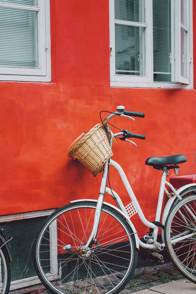 Bicycle Photograph - Bicycle Leaning On Red Wall by Julia Davila-lampe