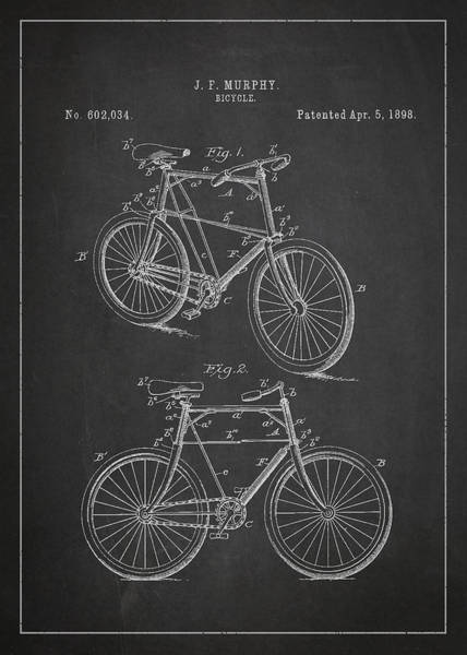 Wall Art - Digital Art - Bicycle Patent by Aged Pixel