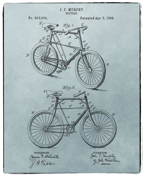 Drawing - Bicycle Patent Blue by Dan Sproul