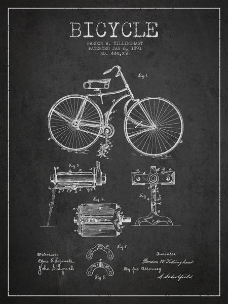 Patent Drawing Wall Art - Digital Art - Bicycle Patent Drawing From 1891 by Aged Pixel