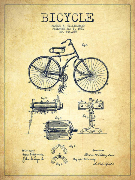 Patent Drawing Wall Art - Digital Art - Bicycle Patent Drawing From 1891 - Vintage by Aged Pixel