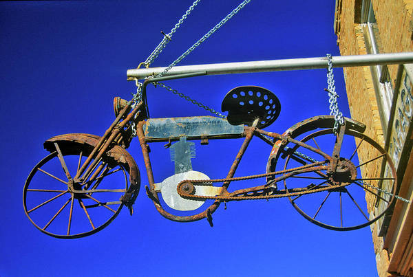 Montana State Photograph - Bicycle Sign Outside Store, Virginia by Panoramic Images