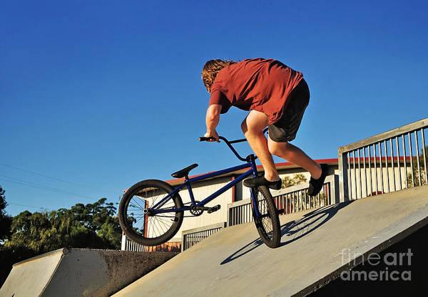 Wall Art - Photograph - Bicycle Stunt - Action by Kaye Menner