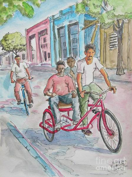 Trinidad Drawing - Bicycle Taxi In Cuba by John Malone