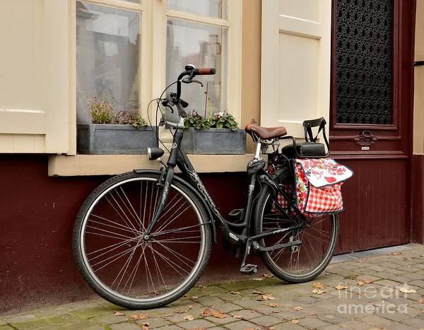 Bicycle With Baby Seat At Doorway Bruges Belgium Art Print