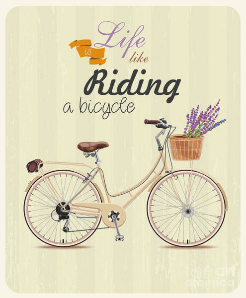 Emblem Wall Art - Digital Art - Bicycle With Lavender In Basket. Poster by Tatsiana Tsyhanova