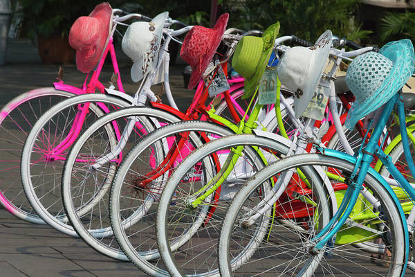 Jakarta Photograph - Bicycles And Colorful Straw Hats by Keren Su