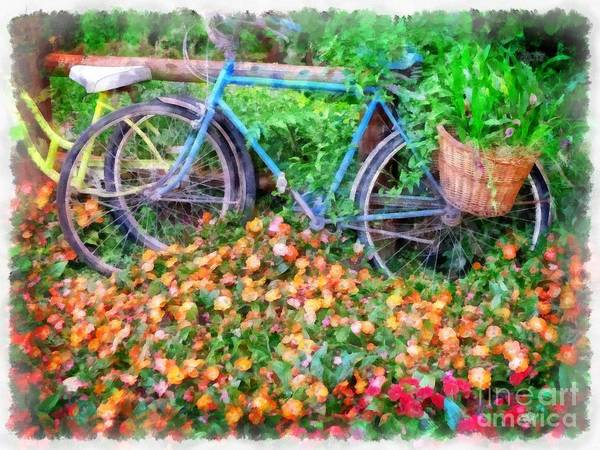 Flowers Bike Wall Art - Photograph - Bicycles In The Garden by Edward Fielding