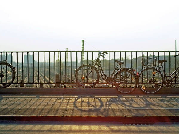 Bicycle Photograph - Bicycles Leaning On Fence by Janusz Ziob