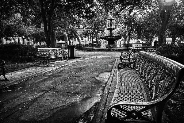 Digital Art - Bienville Fountain In Bw by Michael Thomas