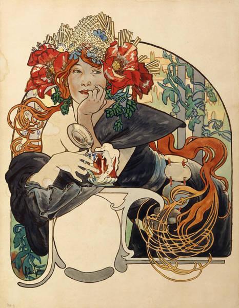 Redhead Photograph - Biere De La Meuse,  Polychrome Gouache On Buffed Paper by Alphonse Marie Mucha