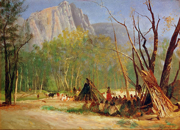 Indian Camp Painting - Bierstadt Council, C1872 by Granger