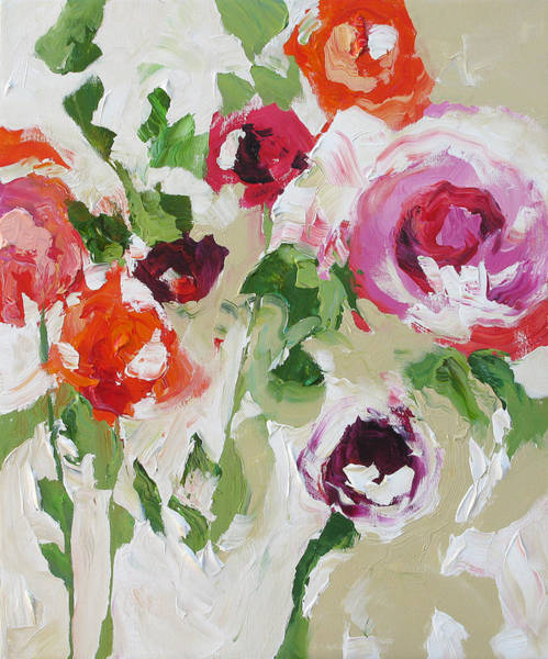 Peach Flower Wall Art - Painting - Big And Bold by Linda Monfort