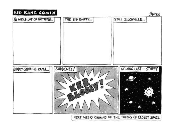 Evolution Wall Art - Drawing - Big Bang Comix by Jack Ziegler