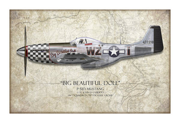 Air War Painting - Big Beautiful Doll P-51d Mustang - Map Background by Craig Tinder