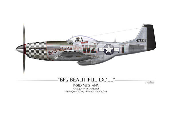 Air War Painting - Big Beautiful Doll P-51d Mustang - White Background by Craig Tinder