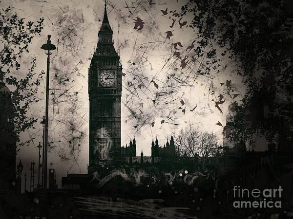 End Times Digital Art - Big Ben Black And White by Marina McLain