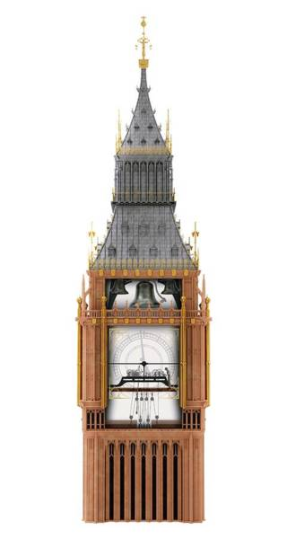 Elizabeth Tower Wall Art - Photograph - Big Ben Clock Tower And Mechanism by Claus Lunau/science Photo Library
