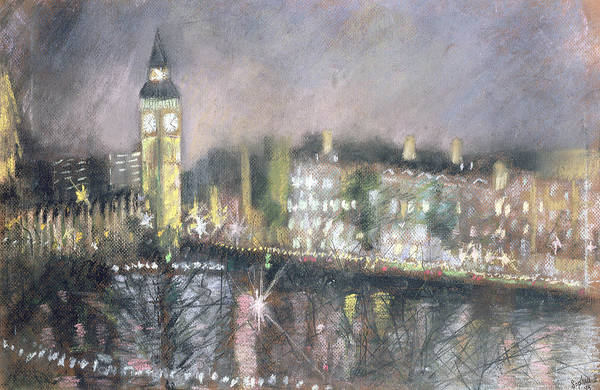 Houses Of Parliament Photograph - Big Ben, From The South Bank, 1995 Pastel On Paper by Sophia Elliot