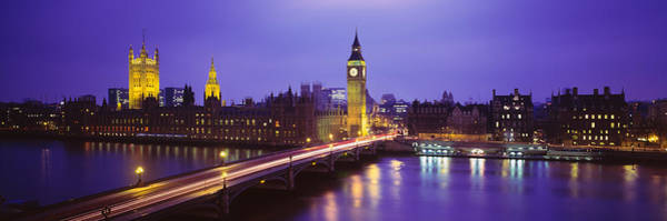 Houses Of Parliament Wall Art - Photograph - Big Ben Lit Up At Dusk, Houses Of by Panoramic Images