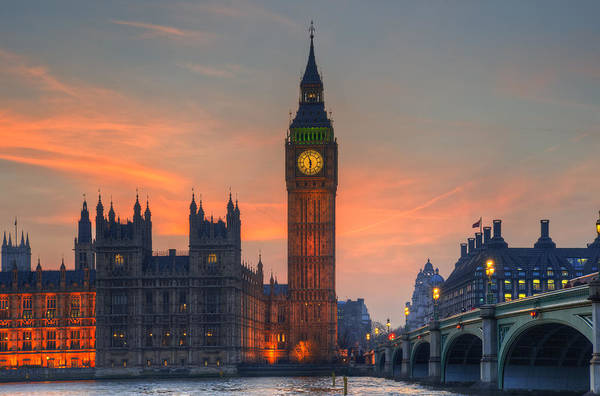 Big Ben Parliament And A Sunset Art Print