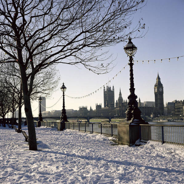 Houses Of Parliament Wall Art - Photograph - Big Ben Westminster Abbey And Houses Of Parliament In The Snow by Robert Hallmann