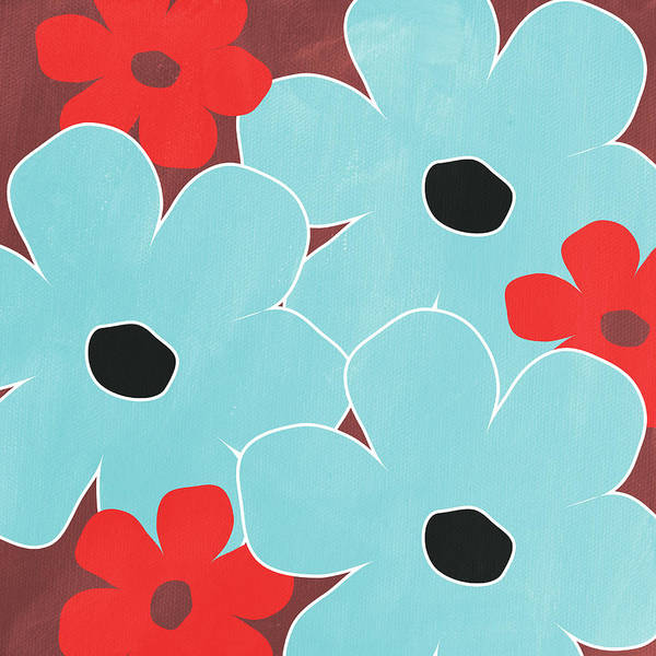 Red Mixed Media - Big Blue Flowers by Linda Woods