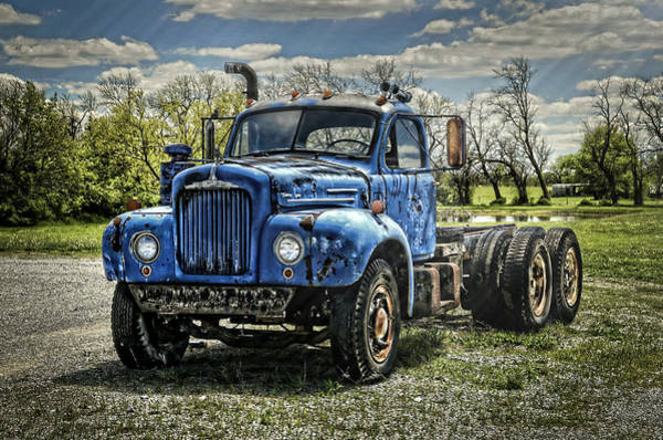 Semi Truck Photograph - Big Blue Mack by Ken Smith