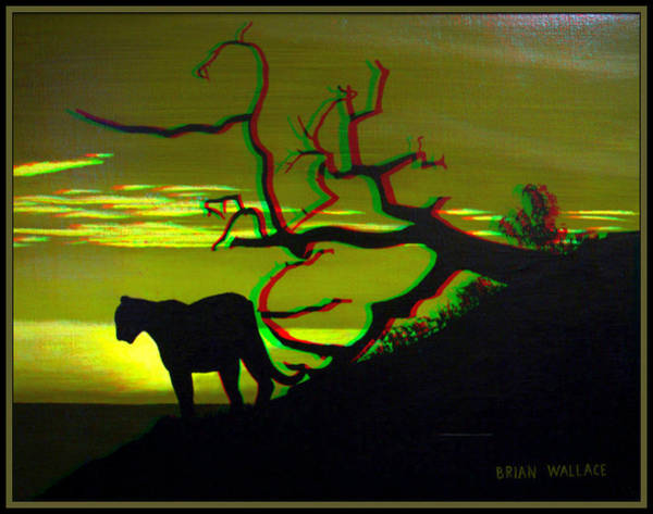 Anaglyph Photograph - Big Cat Silhouette -  Use Red-cyan 3d Glasses by Brian Wallace