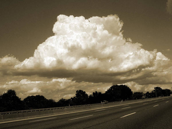 Photograph - Big Cloud Over Highway Sepia by Patrick Malon