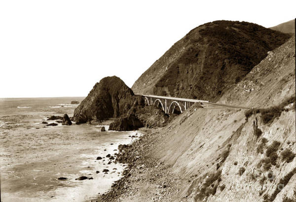 Photograph - Big Creek Bridge Double Arched Concrete Bridge On Highway 1. About 40 Miles South Of Monterey  1935 by California Views Archives Mr Pat Hathaway Archives