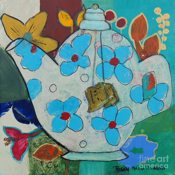 Painting - Big Floral Tea Pot by Robin Maria Pedrero