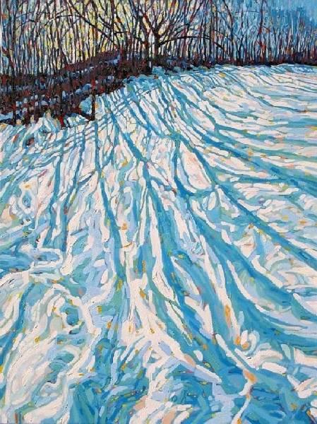 Barn Snow Painting - Big Foot Prints by Phil Chadwick
