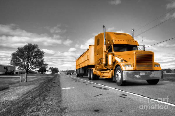 Peterbilt Photograph - Big Golden Rig  by Rob Hawkins