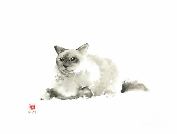 Fat Cat Painting - Big Grey Gray Fat Persian Cat Long Hair Fur Cats Pictures Watercolor Painting by Johana Szmerdt