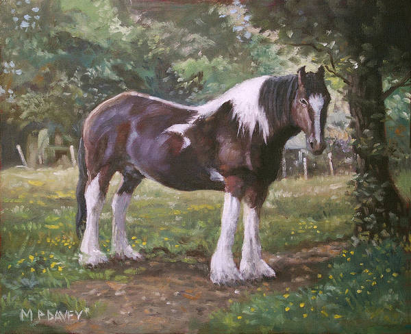 Painting - Big Horse In Field by Martin Davey