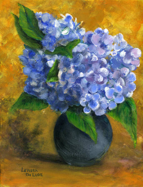 Painting - Big Hydrangeas In Little Black Vase by Lenora  De Lude