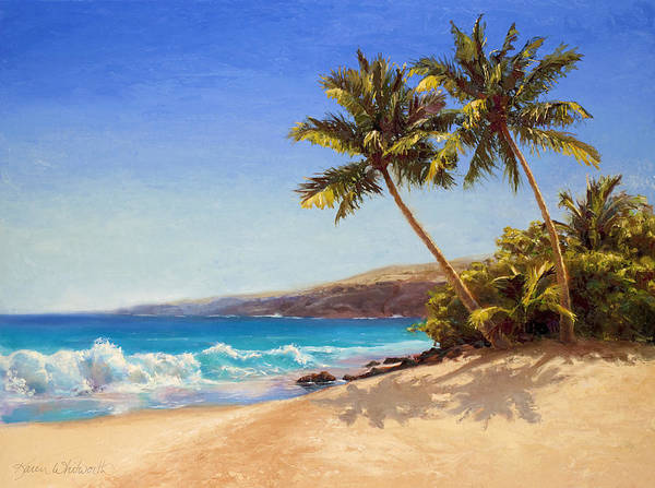 Beach Theme Wall Art - Painting - Hawaiian Beach Seascape - Big Island Getaway  by Karen Whitworth