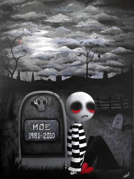 Voodoo Doll Painting - Big Juicy Tears Of Blood And Pain No.10 by Lizzy Love of Oddball Art Co